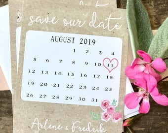 Calendar save the date card, custom save the date, watercolor floral, kraft and white, digital file