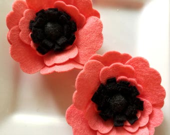 Wool felt flower Coral and Black Poppy- Set of Two