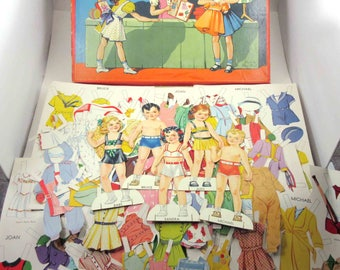 Vintage 1940s or 1950s Paper Doll Bazaar 5 Dolls and 117 Outfits in Original Box by Sam'l Gabriel Sons