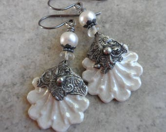 South Seas ... Porcelain Shell Charms with Tinwork, Freshwater Pearls, Mexican Opal and Sterling Wire-Wrapped Boho, Beachy, Bridal Earrings