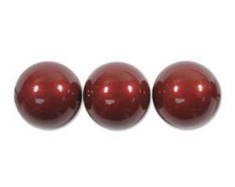 Swarovski Glass Pearl Bead 10mm - 50 pieces - 1 strand - Pearl Coat Red Bordeaux Wine Glass Bead