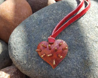 Copper Heart Necklace - Leather Necklace - Spikey Heart - Choker - Boho Jewelry - Cowgirl Jewelry - Rustic Jewelry by Heart of a Cowgirl