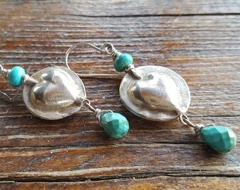 Sterling Silver Heart Earrings - Turquoise Earrings - French Ear wires - Cowgirl Jewelry - Rustic Jewelry by Heart of a Cowgirl