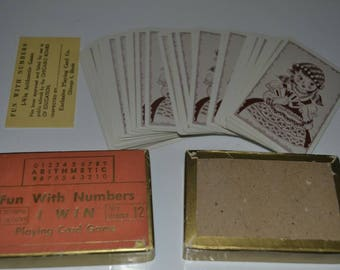 Vintage 50s Fun With Numbers I Win Math Arithmetic Card Game Deck 12 Short Division Learning Game Educational Toy