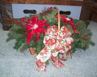 Christmas Arrangement Hearth Basket Feather Poinsettia Pine Cone Evergreens