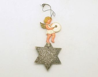 Vintage Christmas Ornament Angel on Star Drum West Germany Christmas Decoration