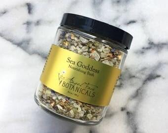 Sea Goddess Nourishing Organic Bath Salts, Seaweed Bath, Bath Tea, Detox Bath, Detoxifying Bath Salts, Bath Soak, Essential Oil Bath 8.5 oz