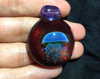 Handblown Glass Jellyfish  Pendant Borosilicate lampwork