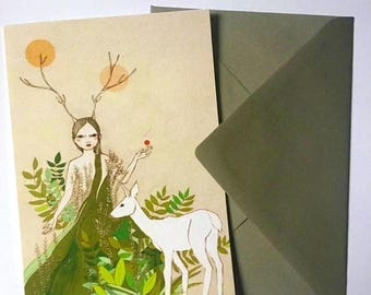 Sale Mori girl card, large greeting card with envelope, forest girl