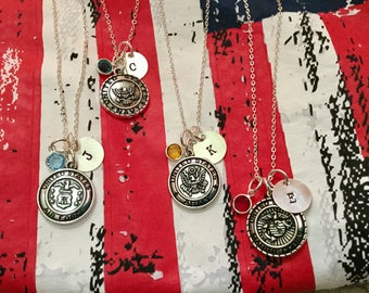 Military Personalized Charm Necklace with Birthstone