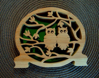 Owl Buddies Handmade Wooden Shelf Decor with Mirrored Back