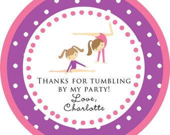 DIY Printable File- Gymnastics Tumbling Party blonde or brunette round sticker/ thank you tags- AVERY LABEL 22807
