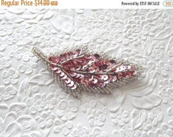 CLEARANCE - One pink silver  hairpin, embellished hairpin, beaded hairpin, leafy hairpin ,  hair accessory, womens accessory