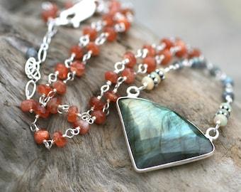 Triangle Labradorite, Sunstone, Ethiopian Opal Gemstone Necklace, Sterling Silver Wire Wrapped Necklace, Geometric Pendant, Multi Gemstone