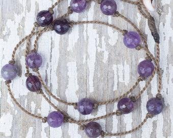 amethyst WRAP / necklace, anklet, bracelet or hair piece / handspun ROPE / waterproof / life-proof / island jewelry / tula blue