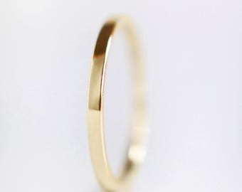 1.5mm Gold Wedding Band | 14k 18k 22k Yellow Gold Ring | recycled gold | thin flat edge wedding band | Shiny or Matte Brushed Finish