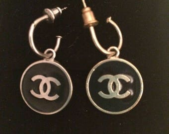 """Authentic Chanel pierced earings with """"CC"""" monogram one gold, one silver"""