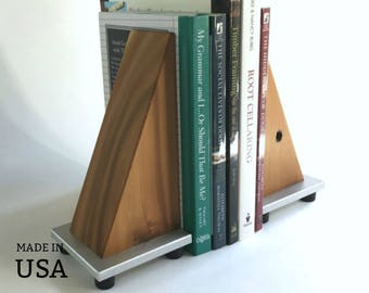 Bookends - Office Decor - Modern - Rustic - Industrial - Reclaimed Wood - Shelf Decor