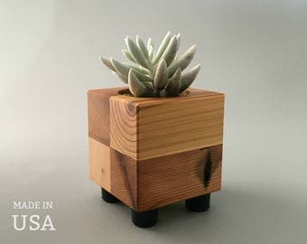 Small Succulent Pot - Cube Planter - Reclaimed Wood - Minimalist