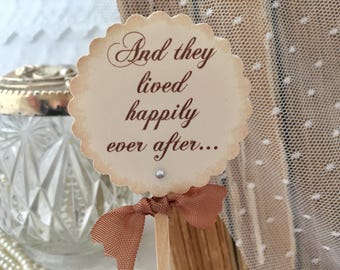 Wedding Cupcake Toppers, Wedding Toppers, Fairytale Toppers, Happily Ever After Toppers, Food Picks Set of 12