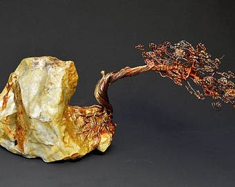 Hand Twisted Metal Copper Bonsai Wire Tree Art Sculpture  - 2274 - FREE SHIPPING