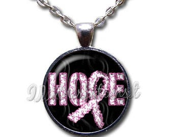 20% OFF - Breast Cancer Awareness Hope Pink Ribbon Glass Dome Pendant or with Chain Link Necklace WD162