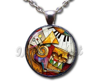 Music Lover Picasso Style Glass Dome Pendant or with Chain Link Necklace PR114
