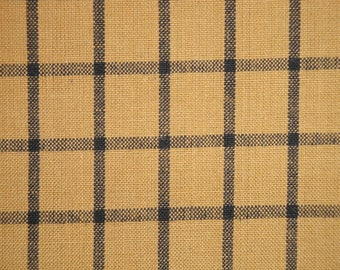 Khaki And Black Woven Window Pane Plaid Homespun Fabric | Sewing Fabric | Rag Quilt Fabric | Primitive Fabric | Doll Making Fabric