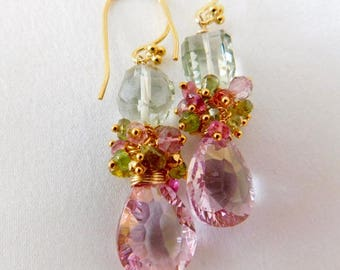Pink Earrings - Pear Shaped Earrings - wedding Jewelry - Green Earrings - Statement Earrings