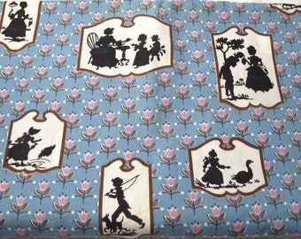 Vintage Blue Pink Tulips 1860 Black Silhouette Fabric 3.5 Yards Americana Colonial  Shabby Cottage Chic Material Farmhouse