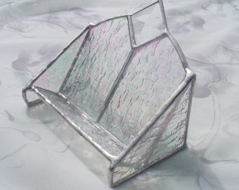 Card holder, Business Card Holder, Stained Glass Cardholder,  Iridescent Clear or Your choice of color available.