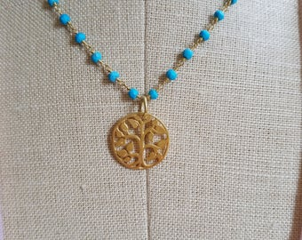 Tree Of Life Pendant Necklace Turquoise Wrapped Stones