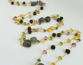Labradorite Garnet Peridot  Citrine and Amethyst Stone Gold Filled Long Necklace