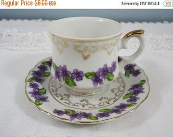 CLEARANCE 50% OFF - Vintage Violets Demitasse Cup and Saucer