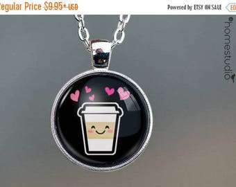 ON SALE - Latte Love : Glass Dome Necklace, Pendant or Keychain Key Ring. Gift Present metal round art photo jewelry by HomeStudio