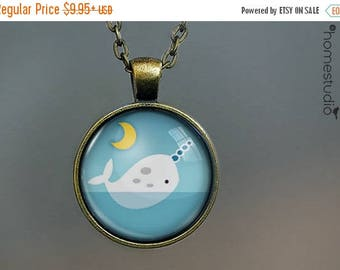 ON SALE - Narwhal : Glass Dome Necklace, Pendant or Keychain Key Ring. Gift Present metal round art photo jewelry by HomeStudio