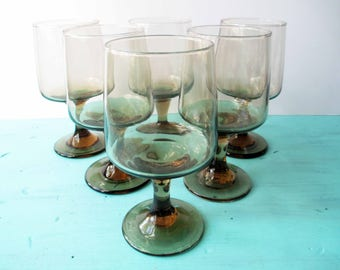 Vintage Libbey Tawny Accent Water or Wine Glass Set of Six - So Seventies