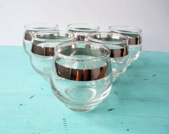 Bar Glasses Libbey Platinum Stripe Set of Six - Vintage Dorothy Thorpe Style