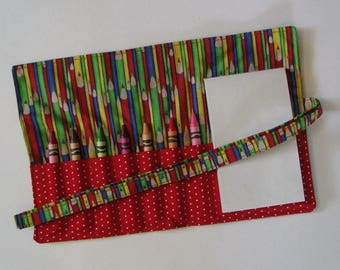 SALE - Crayon Roll , Crayon Holder , Colored Pencils , Travel Activity , Stocking Stuffer , Activity Roll , Party Gift , Party Treat