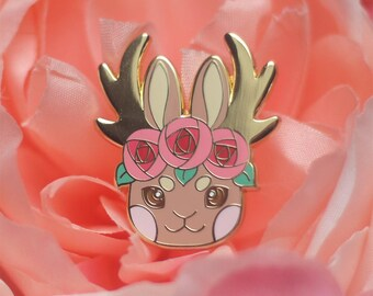 Jackalople Flower Crown Enamel Lapel Pin