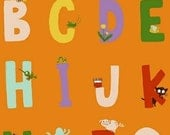 SALE Heather Ross Kinder Alphabet Orange