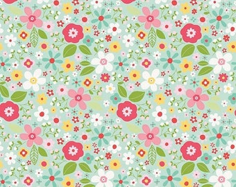 ON SALE Riley Blake Designs Garden Girl by Zoe Pearn - Floral Mint