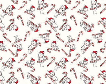 ON SALE Riley Blake Designs Kewpie Christmas - Cream Candy Cane