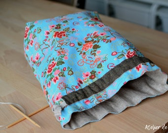 Project bag Knitting bag crochet bag drawstring bag floral prints knittingbag crochetbag