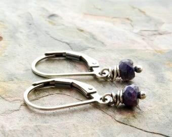 September Birthstone - Blue Sapphire Dangle Earrings - Sterling Silver - Sapphire Earrings - Blue Gemstone - Short Dangles - #4881