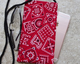 Necklace Purse, Cell Phone Case, Eyeglass Case, Extra Pocket Necklace, Country Western, Red Bandana Fabric Bag, Gift for Her