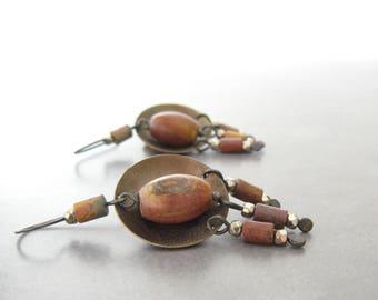 boho dangle earrings, rustic stone earrings, mixed metal earrings, silver and brass earrings, oxidized jewelry