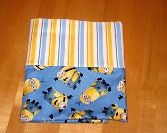 Minions on Blue, striped Standard Pillowcase, Boys bedroom pillowcase