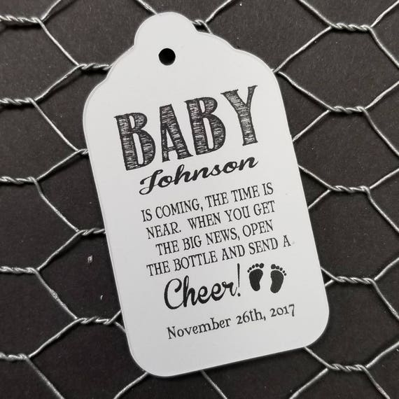 Baby is coming the Time in Near open the bottle Cheer favor tag MEDIUM Tags Personalize with names and date Choose your Quantity MEDIUM