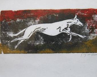 BirdsforBirds Running Greyhound art block print greyhound